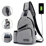 Homens Oxford de grande capacidade casual para viagens ao ar livre com porta de carregamento USB Bolsa Peito Bolsa Crossbody Bolsa