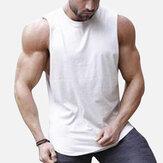 Hombresquecosendetráscolorsólido Gym Camisetas sin mangas sin mangas