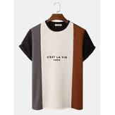 Erkek Harf Baskı Örme Damarlar Patchwork Ekip Boyun T-Shirt