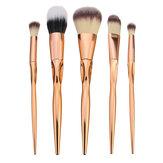Kit de cepillos de maquillaje suave 5pcs kit de cosméticos de oro Kit de cepillo de cepillo Blush de mezcla de labios de sombra de ojos