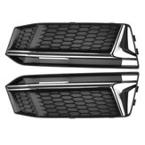1 Pair Honeycomb Front Grill Grille Bumper Fog Light Cover For Audi A4 B9 S-Line S4 2016-2018