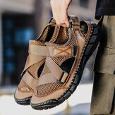 Men's Cowhide Mesh Large Size Breathable Soft Bottom Non-slip Sandals