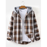 Original              Mens Plaid Button Up Relaxed Fit Long Sleeve Drawstring Hooded Jacket