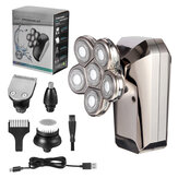 6 in 1 6D Floating Men's Electric Shaver Razor LED Display Nose Hair Trimmer Bald Head Clipper Facial Massager Cleaning Brush