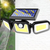 74LED/100COB 3 Modes Solar Wall Light Triple Head Outdoor Sensor Light