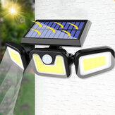 74LED / 100COB 3 modos Solar Aplique de pared Cabeza triple al aire libre Sensor Luz