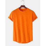 コットン無地ラウンドネックカジュアル半袖Tシャツ