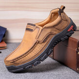 Men Microfiber Leather Vintage Casual Business Office Soft Walking Loafers