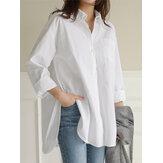 Camisas informais femininas diárias de algodão irregular com bainha para deslocamento diário