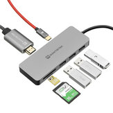MantisTek® H3 7-en-1 Type-C à USB 3.0 4K Affichage PD Charge Hub TF SD Carte Lecteur