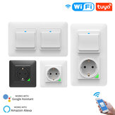 Interruptor de pared de luz inteligente WiFi MoesHouse Enchufe Botón de salida DE UE Smart Life Tuya Wireless Control remoto Trabajar con Alexa Google Home