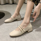 Women Round Toe Solid Color Block Heel Slip On Loafers