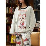 女性の漫画の犬のプリント高低裾プルオーバー弾性ウエストジョガーパンツホームパジャマセット