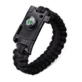 IPRee® 4 In 1 EDC Survival Armband Outdoor Emergency 7 Core Paracord Whistle Compass Kit