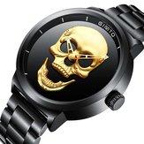 GIMTO GM244 Skull Pattern Steel Watch Band Quartz Men Watch
