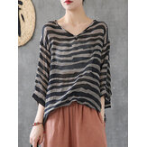 Women Causal Stripe V-neck 3/4 sleeve Drawstring Blouse