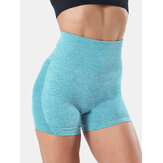 Sport Women Solid Color Seamless High Waist Yoga Shorts