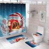 2020 Christmas Bathroom Set Snowman Santa Claus Pattern Shower Curtain for Bathroom Christmas Decor