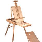 Foldning af træ-esel Bærbar slidstærk fransk skitseboks kunstner malere Stativmaleri leverer staffelier