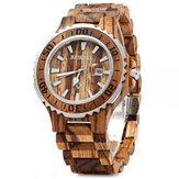 BEWELL ZS-100BG Luminous Hands Calendar Wood Watches