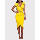 Kuning depan teratur V-neck Hemed Crossed desain Ruffle Midi Dress