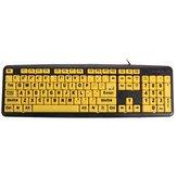 大型印刷USBコンピュータキーボード高コントラスト黄色の鍵長老のための黒の手紙