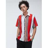 Mens Multi Color Stripe Kurzarm Atmungsaktive Freizeithemden