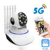 5G 1080P Domowa kamera bezpieczeństwa Dwuzakresowa wewnętrzna inteligentna kamera Wi-Fi Panoramiczny widok 360 ° Infra Night Vision Wykrywanie ruchu 2-kierunkowy dźwięk Bezprzewodowa kamera CCTV Baby Monitor