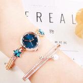 Relógio de quartzo de cristal elegante Lucky Star Padrão para senhoras
