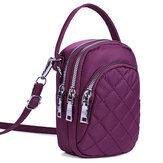 Women Nylon Multi-pocket Phone Purse Lingge Crossbody Bag