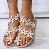 Women Flower Decro Bohemia Beading Toe Ring Casual Beach Flat Sandals