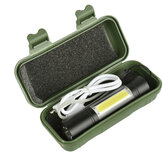 XANES 1518 XPE + COB 2Lights 1000Lumens 3Modes USB Rechargeable Brightness EDC LED Flashlight Suit