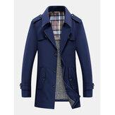 Mens Plush Lined Warm Button Front Lapel Casaul Slant Pocket Coats
