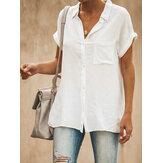 Günlük Yaka Kısa Kol Düz Renk Kadın Bluz Gömlek