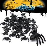 50шт Хэллоуин пластиковые пауки паук смешно шутит игрушки украшения