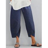 Mujeres Casual Color sólido Cintura elástica Bolsillo lateral Dobladillo irregular Denim Pantalones