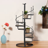 European Style Wrought Iron Retro Flower Stand Solid Wood Shelf Revolving Multi-Layer Staircase Balcony Garden Flower Pot Rack