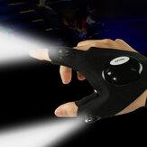 Unissex LED Luvas leves à prova d'água para pesca noturna de esportes ao ar livre com meio dedo
