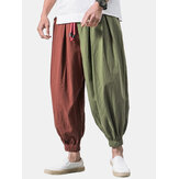 Mens Vintage 100% Cotton Patchwork Color Block Drawstring Casual Pants