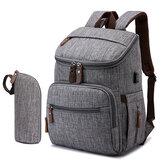 2 Adet USB Mumya Sırt Çantası Su Geçirmez Bebek Bezi Çanta Bez Depolama Çanta Kadın Seyahat Omuz Çanta
