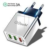 QGEEM QG-CH04 27W 3 USB Adaptador de cargador de pared de viaje QC3.0 Carga rápida para iPhone XS 11Pro Huawei P30 P40 Pro MI10 Note 9S S20 + Note 20
