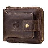 Bullcaptain RFID Antimagnético vendimia Piel Genuina Moneda con 11 ranuras para tarjetas Bolsa Billetera con cremallera para hombre