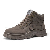 Men Synthetic Suede Splicing Canvas Soft Wearable Casual Tooling Boots