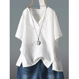 Short Sleeve V-neck Cotton Split Hem Blouse