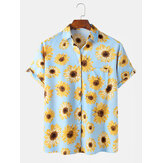 Mens Fashion Sunflower Print Casual Holiday Lapel Short Sleeve Shirts
