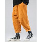 Mens Solid Color Corduroy Multi Pocket Loose Drawstring Pants
