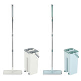 360° Rotation Spin Flat Mop Bucket Set Auto Rebound Hand-free Floor Cleaning