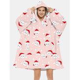 Christmas Women Cute Rabbits Print Thick Reversible Oversized Blanket Hoodie Sleepwear Robe