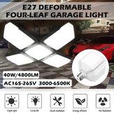 40W E27 LED Garage Light Four-Leaf Deformable High Bay Lamp Ceiling Warehouse Workshop Industrial Lighting
