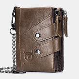 Herren Echtleder Rindsleder RFID Diebstahlschutz Retro Reißverschluss Mit Kettenkartenhalter Brieftasche